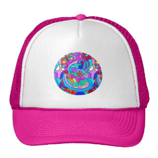 hippie groovy love circle trucker hat