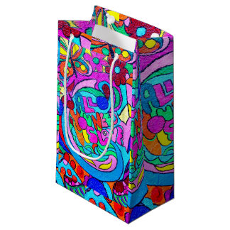 hippie groovy peace and love small gift bag