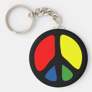 Hippie Groovy Peace Symbol Keychain