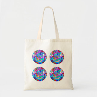 hippie groovy retro love circles tote bag