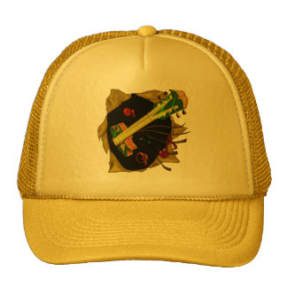 Hippie guitar trucker hat