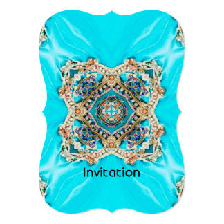 Hippie Gypsy Ethnic turquoise aqua blue bohemian Card