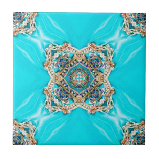 Hippie Gypsy Ethnic turquoise aqua blue bohemian Ceramic Tile