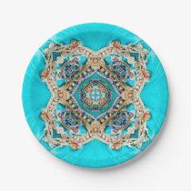 Hippie Gypsy Ethnic turquoise aqua blue bohemian Paper Plate