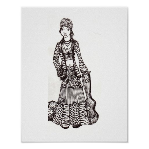 Hippie Gypsy Girl With Guitar Poster