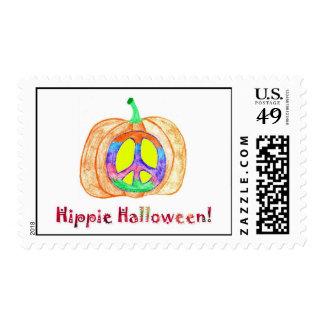 Hippie Halloween Pumpkin Peace Sign Postage Stamp