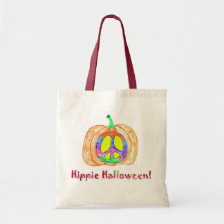 Hippie Halloween Pumpkin Peace Sign Tote Bag