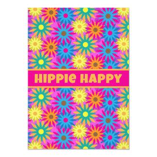 Hippie Happy 1960s Retro Theme Flower Power Party Card