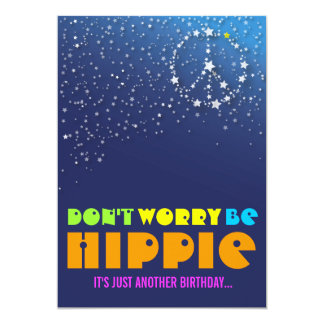 "Hippie Happy 50th Birthday Peace Party Invitations 5"" X 7"" Invitation Card"