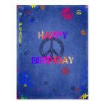 Hippie Happy Birthday Card Blue Postcard