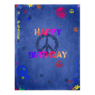 Hippie Happy Birthday Card Blue Postcard
