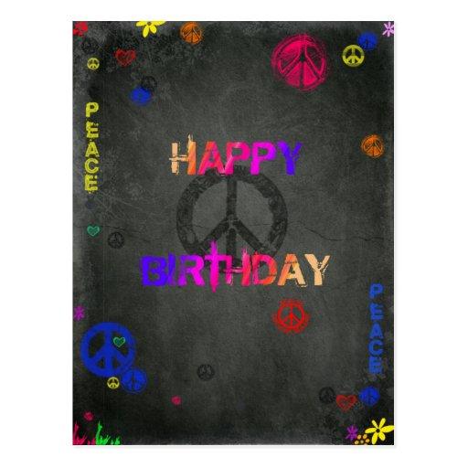 Hippie Happy Birthday in Black Postcard