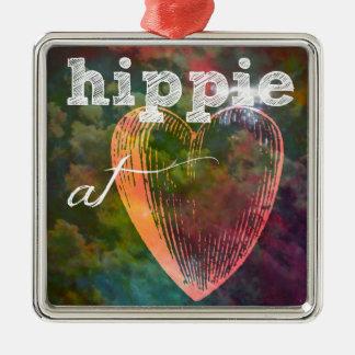 Hippie Heart Metal Ornament