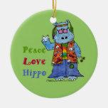 Hippie Hippo-Peace, Love, Hippo Ceramic Ornament