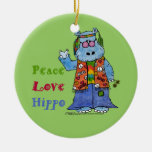Hippie Hippo-Peace, Love, Hippo Double-Sided Ceramic Round Christmas Ornament