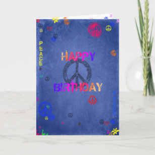Hippie Hippy Birthday Card Blue