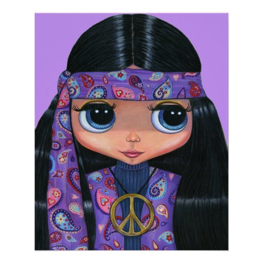 Hippie in Paisley Poster