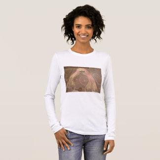 hippie lady goddess groovy chalk drawing long sleeve T-Shirt