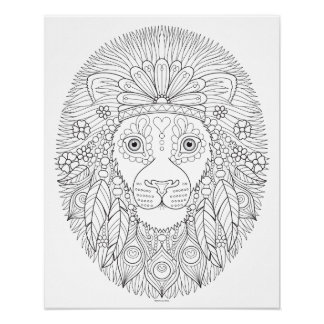 Hippie Lion Coloring Poster - Colorable Art Poster
