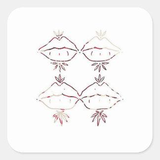 hippie lippie square sticker