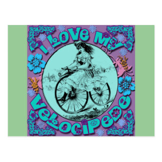 Hippie Look I Love My Velocipede T shirts, Mugs Postcard