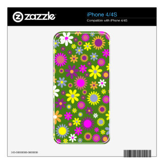 Hippie Love Floral Designed Collection Decal For The iPhone 4
