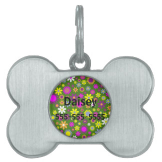 Hippie Love Floral Designed Collection Pet Name Tag