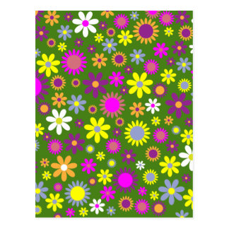 Hippie Love Floral Designed Collection Postcard