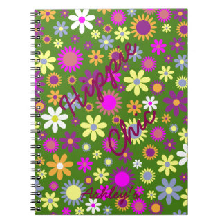 Hippie Love Floral Designed Collection Says Hippie Spiral Notebook