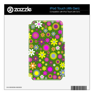 Hippie Love Floral Designed Collection Skin For iPod Touch 4G
