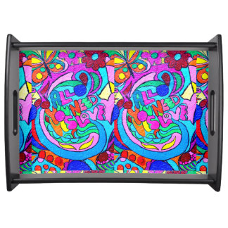 hippie love flowers and butterflies tray serving trays