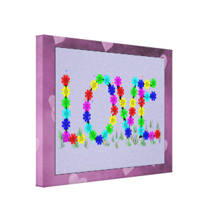 Hippie Love Flowers Gallery Wrapped Canvas