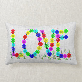 Hippie Love Flowers Lumbar Pillow