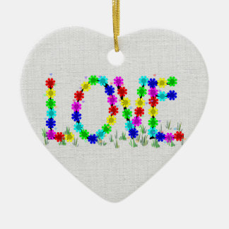 Hippie Love Flowers Double-Sided Heart Ceramic Christmas Ornament