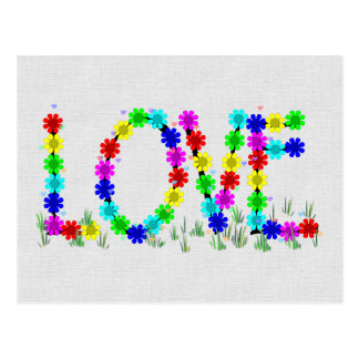 Hippie Love Flowers Postcard