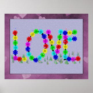 Hippie Love Flowers Poster