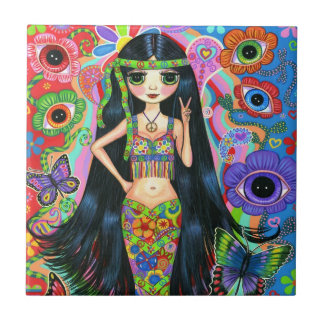 Hippie Mermaid Girl with Eye Flowers & Butterflies Ceramic Tile