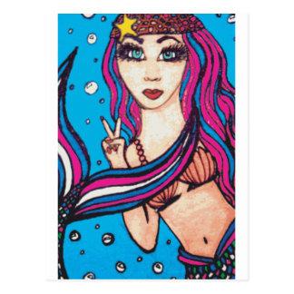 Hippie Mermaid Postcard