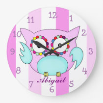 hippie multicolored floral owl large clock