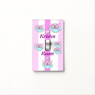 hippie multicolored floral owl light switch cover