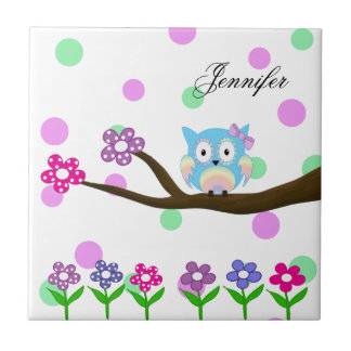 Hippie multicolored owl on tree and flowers ceramic tile