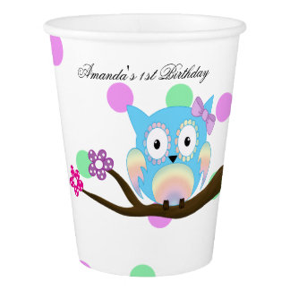 Hippie multicolored owl paper cup