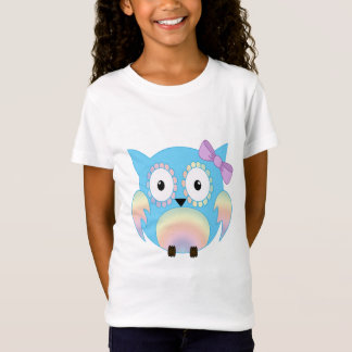 Hippie multicolored owl with a cute Lila bow T-Shirt