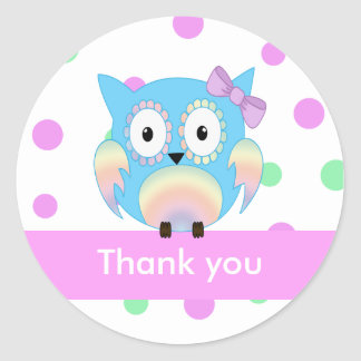 Hippie owl multicolored thank you classic round sticker