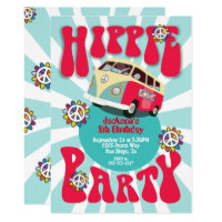 Hippie Party 1960's 1970's Themed Invitation