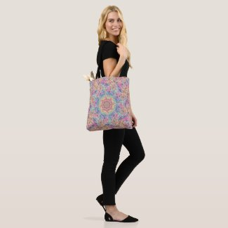 Hippie Pastel Colors Vintage Fractal Kaleidoscope Tote Bag