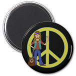 Hippie Peace 2 Inch Round Magnet