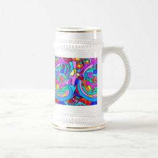 hippie peace and love beer stein
