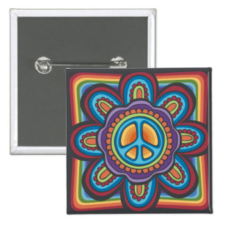 Hippie Peace Flower 2 Inch Square Button