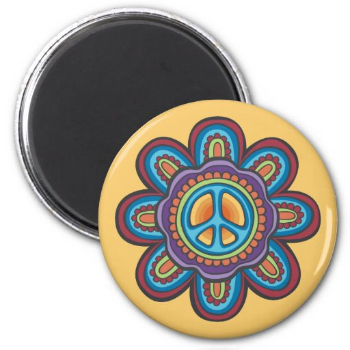 Hippie Peace Flower Magnets